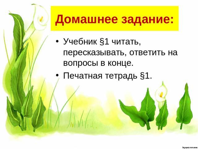 Домашнее задание: Учебник §1 читать, пересказывать, ответить на вопросы в конце. Печатная тетрадь §1.