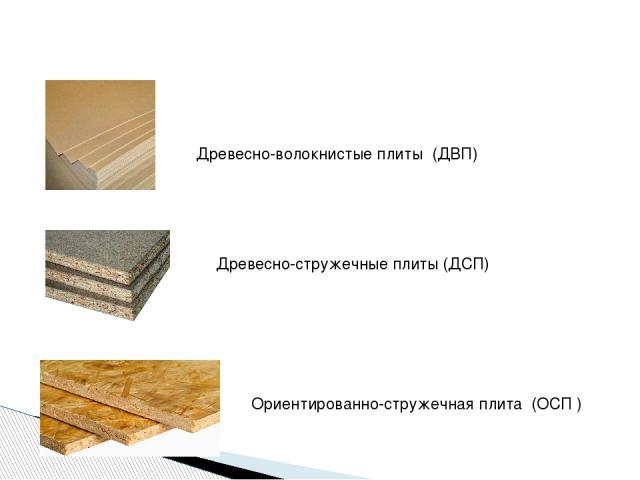 Древесно-волокнистые плиты (ДВП) Древесно-стружечные плиты (ДСП) Ориентированно-стружечная плита (ОСП )