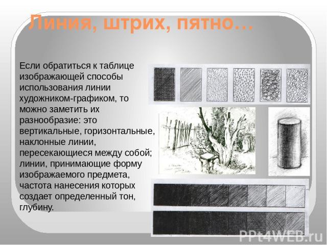 Линия, штрих, пятно… Если обратиться к таблице изображающей способы использования линии художником-графиком, то можно заметить их разнообразие: это вертикальные, горизонтальные, наклонные линии, пересекающиеся между собой; линии, принимающие форму и…