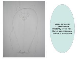 Более детально прорисовываем мордочку кота и уши. Затем дорисовываем тело кота и
