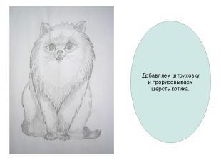 Добавляем штриховку и прорисовываем шерсть котика.