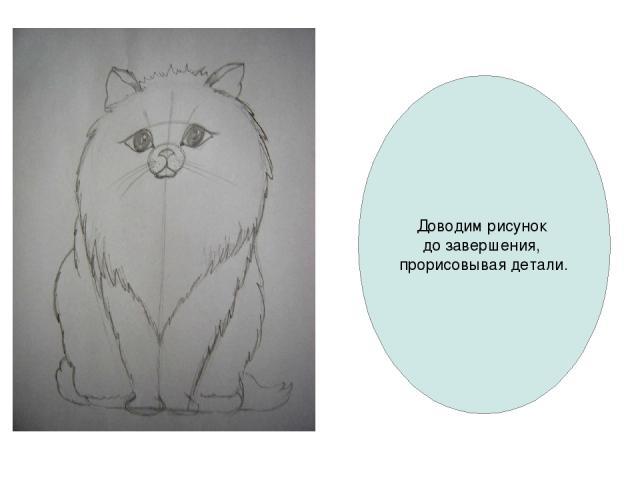 Доводим рисунок до завершения, прорисовывая детали.