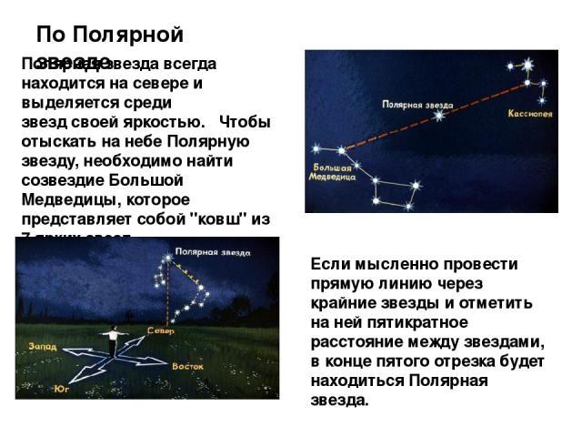 По Полярной звезде Полярная звезда всегда находится на севере и выделяется среди звезд своей яркостью.Чтобы отыскать на небе Полярную звезду, необходимо найти созвездие Большой Медведицы, которое представляет собой