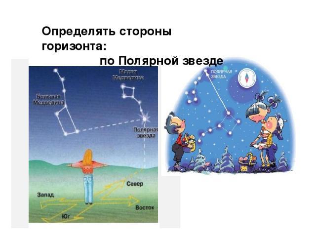 Определять стороны горизонта: по Полярной звезде