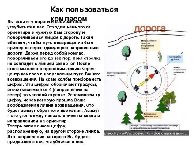 Как пользоваться компасом Вы стоите у дороги и собираетесь углубиться в лес. Отходим немного от ориентира в нужную Вам сторону и поворачиваемся лицом к дороге. Таким образом, чтобы путь возвращения был примерно перпендикулярен направлению дороги. Де…