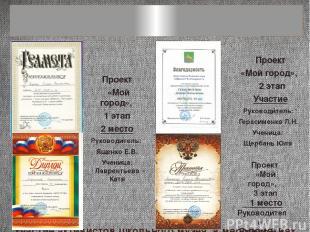 Участие активистов школьного музея в мероприятиях Проект «Мой город», 3 этап 1 м