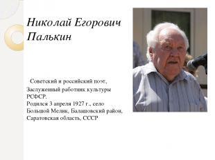 Николай Егорович Палькин Советский и российский поэт, Заслуженный работник культ