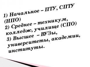 1) Начальное – ПТУ, СПТУ (НПО) 2) Среднее – техникум, колледж, училище (СПО) 3)