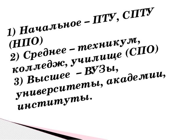 1) Начальное – ПТУ, СПТУ (НПО) 2) Среднее – техникум, колледж, училище (СПО) 3) Высшее – ВУЗы, университеты, академии, институты.