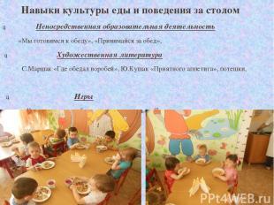 Навыки культуры еды и поведения за столом Навыки культуры еды и поведения за сто