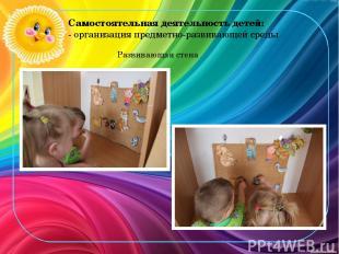 Самостоятельная деятельность детей: - организация предметно-развивающей среды Ра