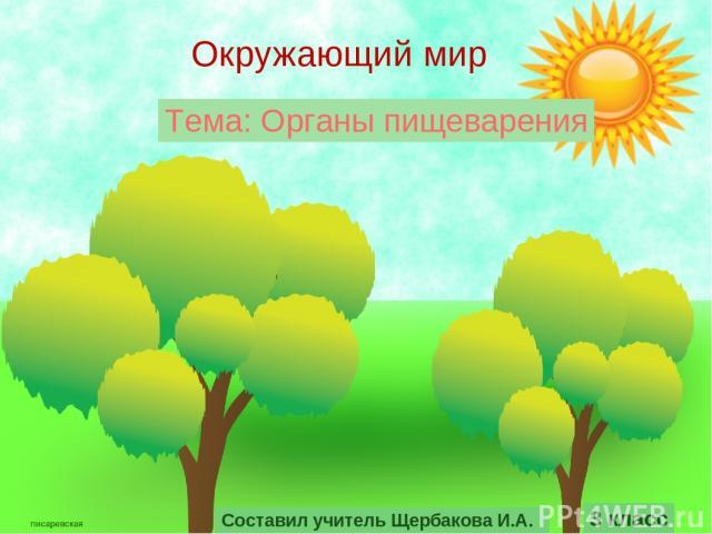 Окружающий мир 3 класс Тема: Органы пищеварения Составил учитель Щербакова И.А.