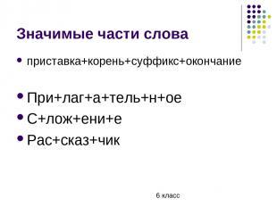 Значимые части слова приставка+корень+суффикс+окончание При+лаг+а+тель+н+ое С+ло
