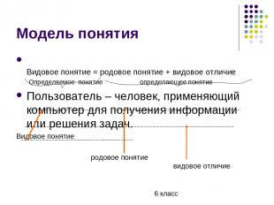 Модель понятия Видовое понятие = родовое понятие + видовое отличие Определяемое
