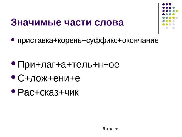 Значимые части слова приставка+корень+суффикс+окончание При+лаг+а+тель+н+ое С+лож+ени+е Рас+сказ+чик 6 класс