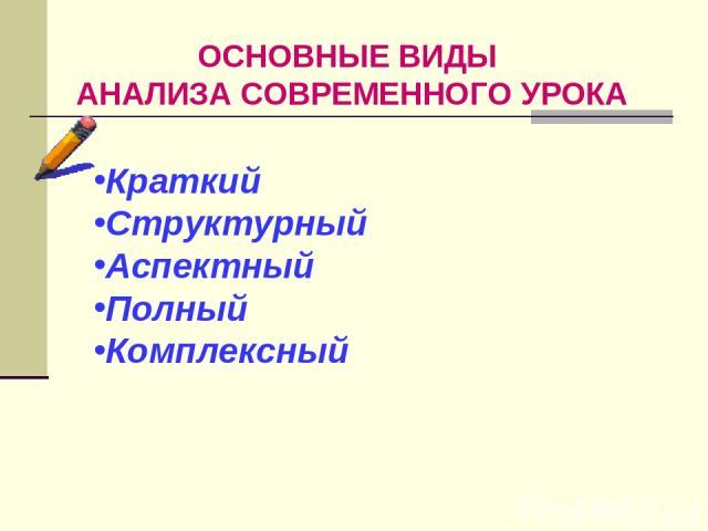 ОСНОВНЫЕ ВИДЫ АНАЛИЗА СОВРЕМЕННОГО УРОКА Краткий Структурный Аспектный Полный Комплексный
