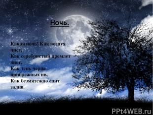 Ночь. Какая ночь! Как воздух чист, Как серебристый дремлет лист, Как тень черна