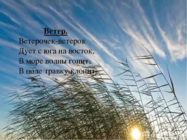 Ветер. Ветерочек-ветерок Дует с юга на восток, В море волны гонит, В поле травку клонит.