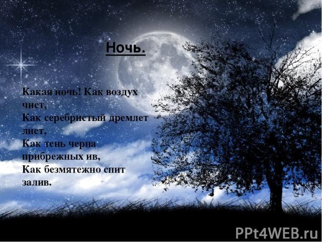 Ночь. Какая ночь! Как воздух чист, Как серебристый дремлет лист, Как тень черна прибрежных ив, Как безмятежно спит залив.