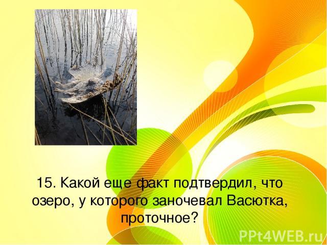 15. Какой еще факт подтвердил, что озеро, у которого заночевал Васютка, проточное?
