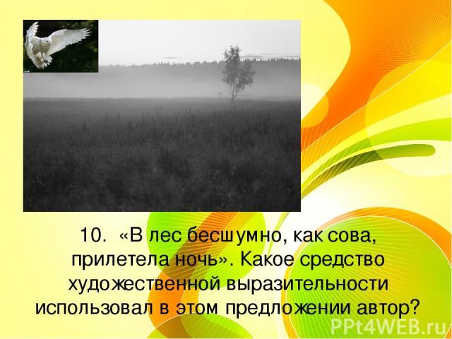 10. «В лес бесшумно, как сова, прилетела ночь». Какое средство художественной выразительности использовал в этом предложении автор?