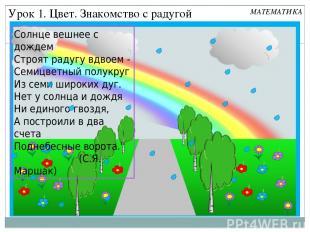 Урок 1. Цвет. Знакомство с радугой МАТЕМАТИКА Солнце вешнее с дождем Строят раду