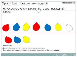 6. Расскажи, каким должен быть цвет последней капли. Урок 1. Цвет. Знакомство с