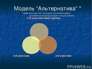 """Модель """"Альтернатива"""" * * один участник или несколько участников имеют противопо"""