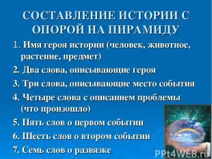 СОСТАВЛЕНИЕ ИСТОРИИ С ОПОРОЙ НА ПИРАМИДУ 1. Имя героя истории (человек, животное