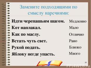onachishich@mail.ru * * Замените подходящими по смыслу наречиями: Идти черепашьи