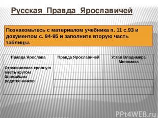 Русская Правда Ярославичей Познакомьтесь с материалом учебника п. 11 с.93 и доку