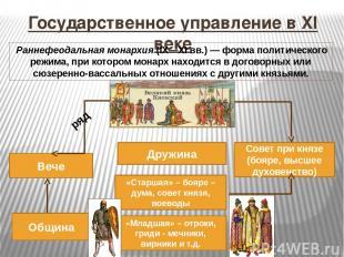 Государственное управление в XI веке Великий князь Дружина Вече «Старшая» – бояр