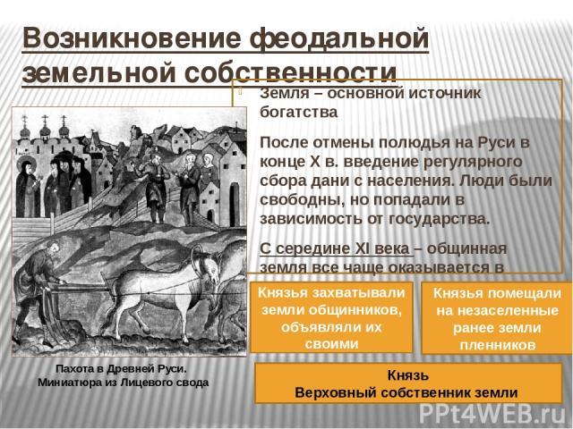 Возникновение феодальной земельной собственности Земля – основной источник богатства После отмены полюдья на Руси в конце X в. введение регулярного сбора дани с населения. Люди были свободны, но попадали в зависимость от государства. С середине XI в…