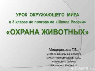 Мещерякова Г.В., учитель начальных классов МКОУ Новокурлакская СОШ Аннинского ра
