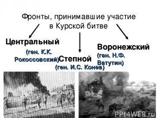 Фронты, принимавшие участие в Курской битве Степной (ген. И.С. Конев) Центральны