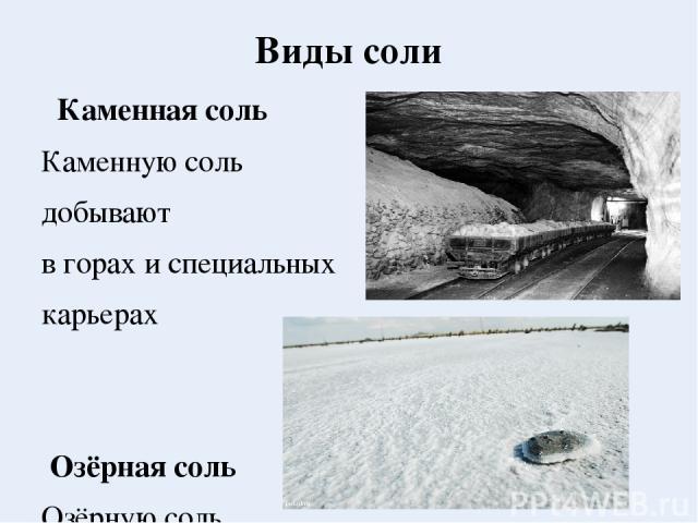 Виды соли Каменная соль Каменную соль добывают в горах и специальных карьерах Озёрная соль Озёрную соль добывают из пластов на дне солёных озёр