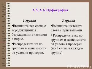 А 5, А 6. Орфография 1 группа Выпишите все слова с чередующимися безударными гла