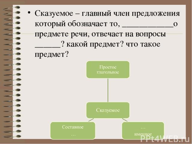 Сказуемое – главный член предложения который обозначает то, ____________о предмете речи, отвечает на вопросы ______? какой предмет? что такое предмет?