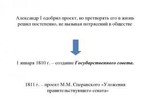 Александр I одобрил проект, но претворять его в жизнь решил постепенно, не вызыв