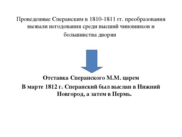 Проведенные Сперанским в 1810-1811 гг. преобразования вызвали негодования среди высший чиновников и большинства дворян Отставка Сперанского М.М. царем В марте 1812 г. Сперанский был выслан в Нижний Новгород, а затем в Пермь.