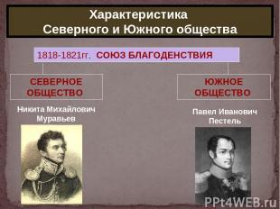 Характеристика Северного и Южного общества 1818-1821гг. СОЮЗ БЛАГОДЕНСТВИЯ СЕВЕР