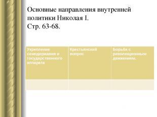 Основные направления внутренней политики Николая I. Стр. 63-68. Укрепление самод