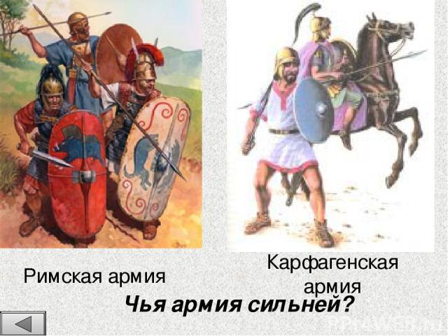 Римская армия Карфагенская армия Чья армия сильней?