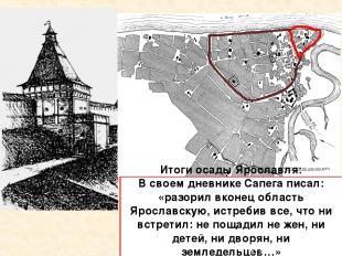 Рубленный город Земляной город Итоги осады Ярославля: В своем дневнике Сапега пи