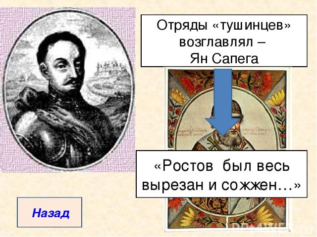 Отряды «тушинцев» возглавлял – Ян Сапега «Ростов был весь вырезан и сожжен…» Назад