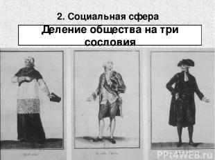 2. Социальная сфера Деление общества на три сословия Духовенство Дворянство Трет