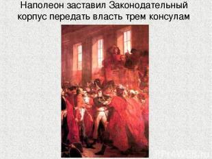 Наполеон заставил Законодательный корпус передать власть трем консулам