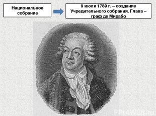 Национальное собрание 9 июля 1789 г. – создание Учредительного собрания. Глава –