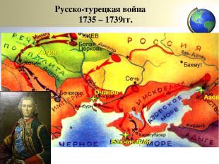 Русско-турецкая война 1735 – 1739гг. Азов Бахчисарай Очаков Хотин