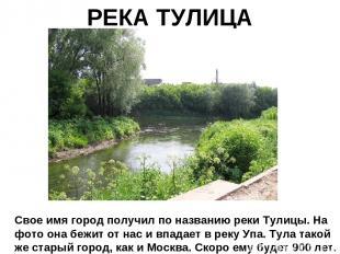 РЕКА ТУЛИЦА Свое имя город получил по названию реки Тулицы. На фото она бежит от